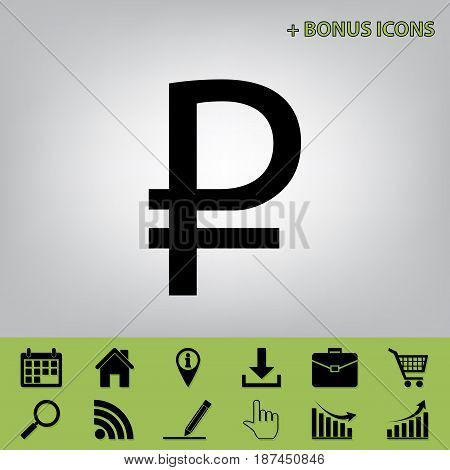 Ruble sign. Vector. Black icon at gray background with bonus icons at celery ones