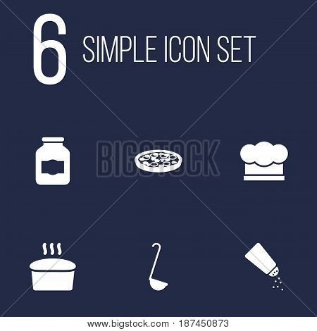 Set Of 6 Culinary Icons Set.Collection Of Pepperoni, Saltshaker, Loaf And Other Elements.