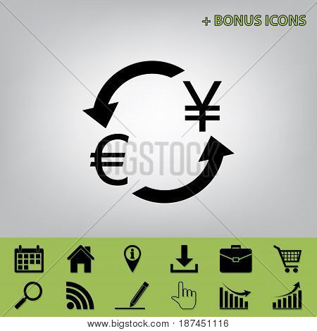 Currency exchange sign. Euro and Japan Yen. Vector. Black icon at gray background with bonus icons at celery ones