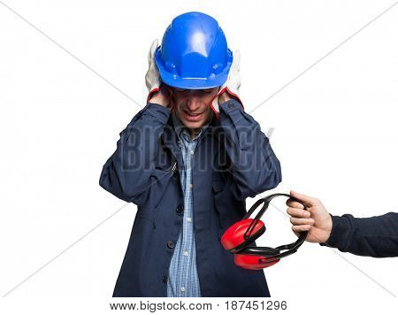 Worker having ears pain. Isolated on white