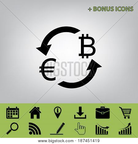 Currency exchange sign. Euro and Bitcoin. Vector. Black icon at gray background with bonus icons at celery ones