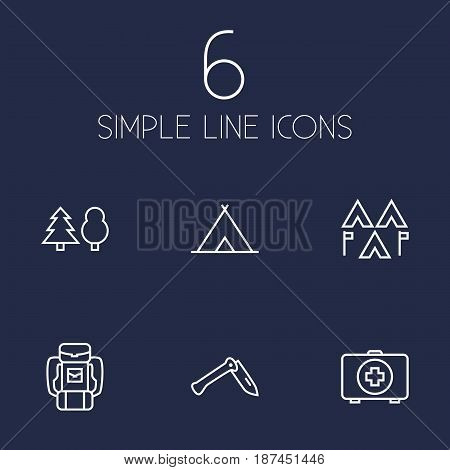 Set Of 6 Adventure Outline Icons Set.Collection Of Forest, Medical Kit, Encampment And Other Elements.