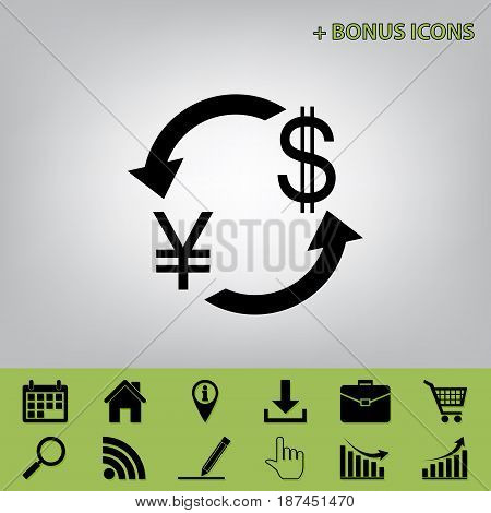 Currency exchange sign. Japan Yen and US Dollar. Vector. Black icon at gray background with bonus icons at celery ones