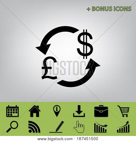 Currency exchange sign. UK: Pound and US Dollar. Vector. Black icon at gray background with bonus icons at celery ones