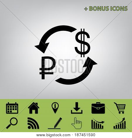 Currency exchange sign. Ruble and US Dollar. Vector. Black icon at gray background with bonus icons at celery ones