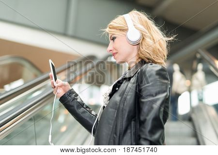 Woman using her cellphone