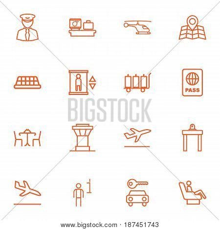 Set Of 16 Airplane Outline Icons Set.Collection Of Control Tower, Data, Pilot And Other Elements.