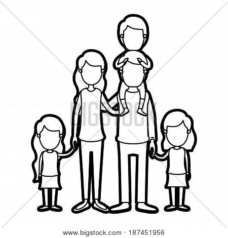 caricature thick contour faceless group family parents with boy on his back and daugthers taken hands vector illustration