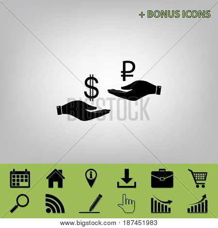 Currency exchange from hand to hand. Dollar and Ruble. Vector. Black icon at gray background with bonus icons at celery ones