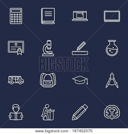 Set Of 16 Studies Outline Icons Set.Collection Of Encyclopedia, Pencil, Brain And Other Elements.