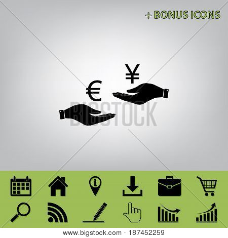Currency exchange from hand to hand. Euro and Yen. Vector. Black icon at gray background with bonus icons at celery ones