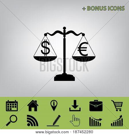 Justice scales with currency exchange sign. Vector. Black icon at gray background with bonus icons at celery ones