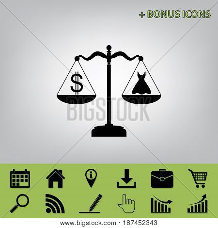 Dress and dollar symbol on scales. Vector. Black icon at gray background with bonus icons at celery ones