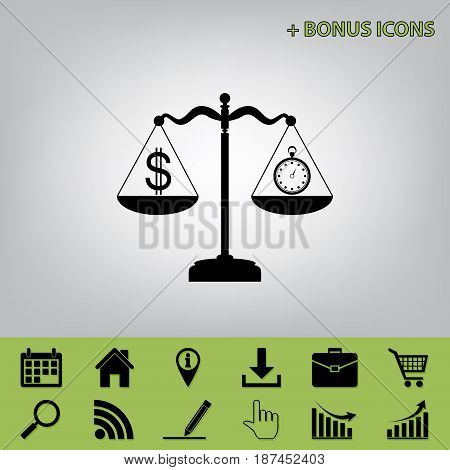Stopwatch and dollar symbol on scales. Vector. Black icon at gray background with bonus icons at celery ones