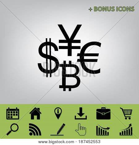 Currency sign collection dollar, euro, bitcoin, yen. Vector. Black icon at gray background with bonus icons at celery ones