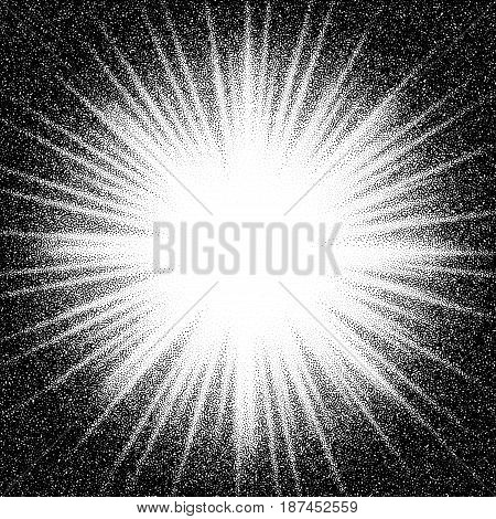 Sunburst. Abstract vector black and white halftone background. Eps8. RGB. Global color