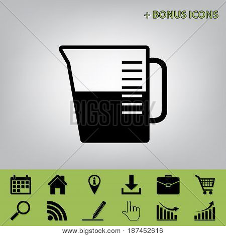 Beaker sign. Vector. Black icon at gray background with bonus icons at celery ones