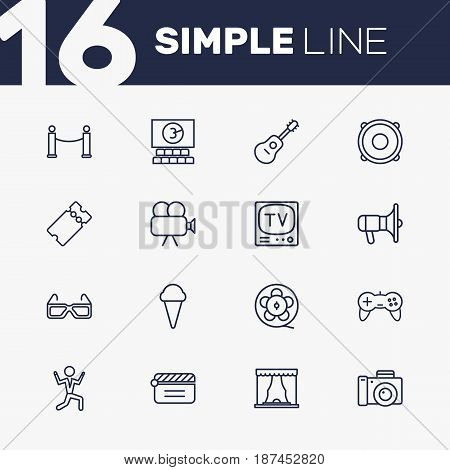 Set Of 16 Entertainment Outline Icons Set.Collection Of Theater, Game Controller, Photo Camera And Other Elements.