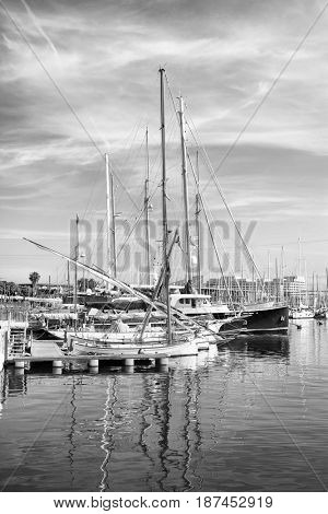 Yachts in port of Barcelona, Spain. Black and white image