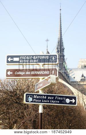 Signpost of landmarks near Notre Dame de Paris