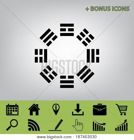 Bagua sign. Vector. Black icon at gray background with bonus icons at celery ones
