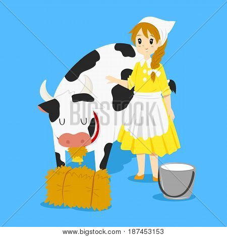A milkmaid standing besides a cow that eating hay
