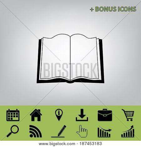 Book sign. Vector. Black icon at gray background with bonus icons at celery ones