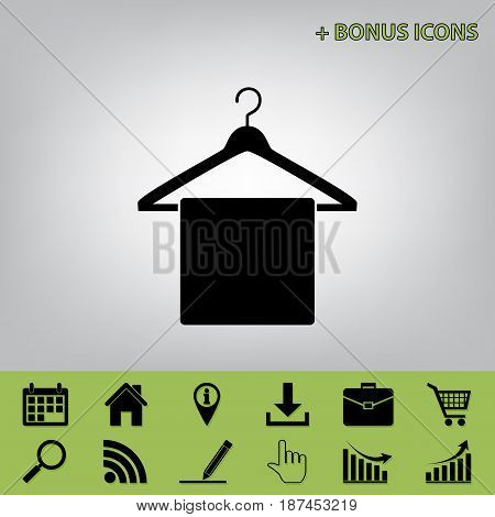 Towel On Hanger sign. Vector. Black icon at gray background with bonus icons at celery ones