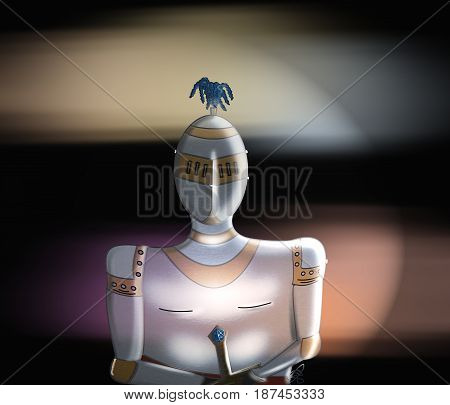 Medieval knight in armour on black and sunset colour background