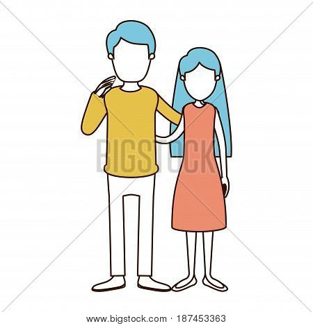 caricature faceless color sections and blue hair of full body couple woman with long hair in dress and man embracing couple vector illustration