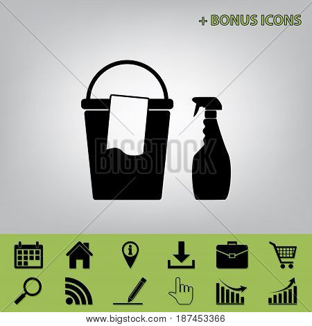 Bucket and a rag with Household chemical bottles. Vector. Black icon at gray background with bonus icons at celery ones