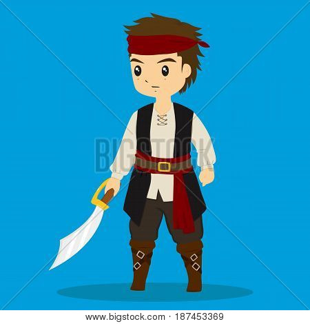 a boy wearing pirate costume and holding a pirate sword