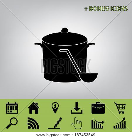 Pan with steam sign. Vector. Black icon at gray background with bonus icons at celery ones