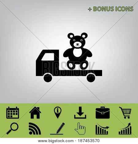 Truck with bear. Vector. Black icon at gray background with bonus icons at celery ones