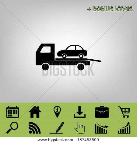 Tow car evacuation sign. Vector. Black icon at gray background with bonus icons at celery ones