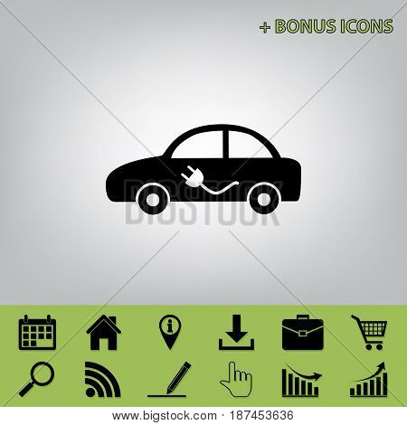 Electric car sign. Vector. Black icon at gray background with bonus icons at celery ones