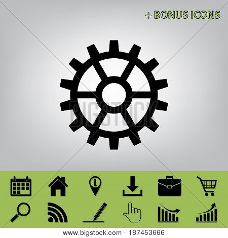 Gear sign. Vector. Black icon at gray background with bonus icons at celery ones