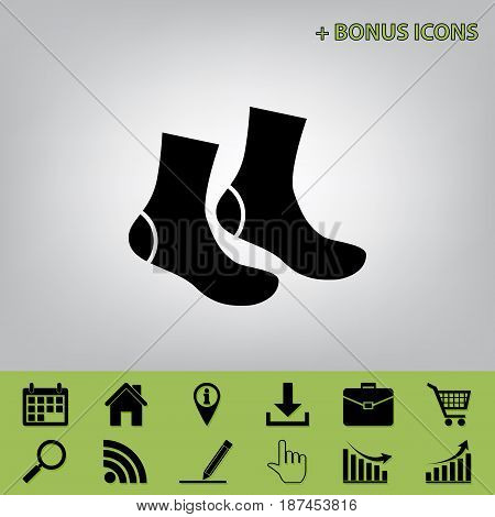 Socks sign. Vector. Black icon at gray background with bonus icons at celery ones