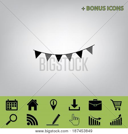 Holiday flags garlands sign. Vector. Black icon at gray background with bonus icons at celery ones