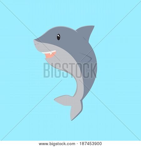 cute happy shark vector on blue background