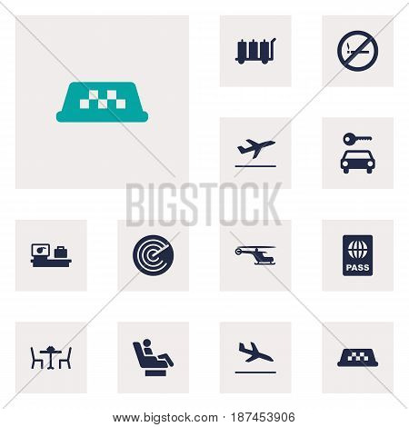Set Of 12 Land Icons Set.Collection Of Cab, Restaurant, Automobile And Other Elements.