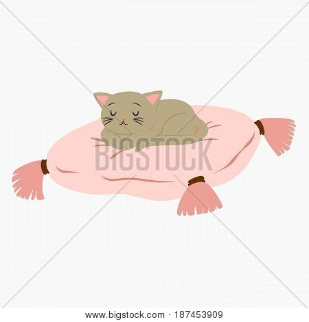 cat sleeping on top of a pink cushion vector