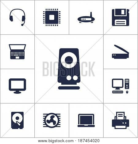 Set Of 13 Laptop Icons Set.Collection Of Photocopy, Computer, Amplifier And Other Elements.