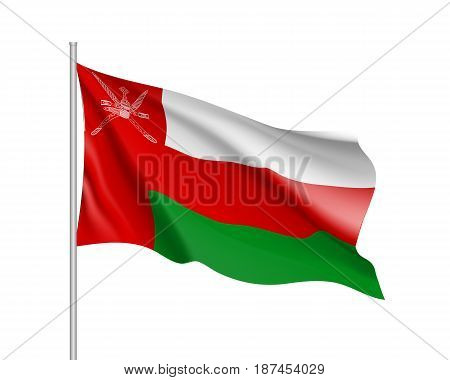 Waving flag of Sultanate of Oman. Illustration of Asian country flag on flagpole. Vector 3d icon isolated on white background