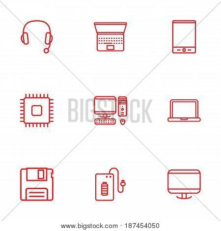 Set Of 9 Laptop Outline Icons Set.Collection Of Headphone, Floppy, Notebook And Other Elements.