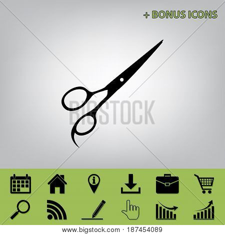 Hair cutting scissors sign. Vector. Black icon at gray background with bonus icons at celery ones