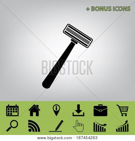 Safety razor sign. Vector. Black icon at gray background with bonus icons at celery ones