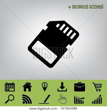 Memory card sign. Vector. Black icon at gray background with bonus icons at celery ones