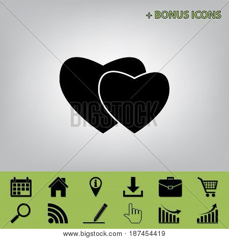 Two hearts sign. Vector. Black icon at gray background with bonus icons at celery ones