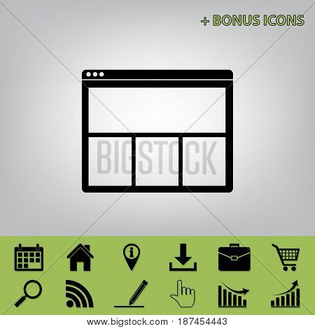 Web window sign. Vector. Black icon at gray background with bonus icons at celery ones